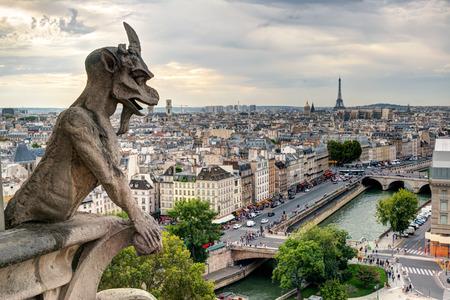 Chimera  gargoyle  of the Cathedral of Notre Dame de Paris overlooking Paris, France