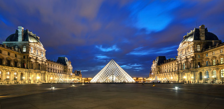 tourist attractions: Louvre museum at night on september 25, 2013 in Paris  The Louvre is one of the largest museums in the world and one of the major tourist attractions of Paris