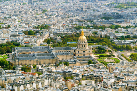 invalides: View of Les Invalides from the Eiffel Tower in Paris, France