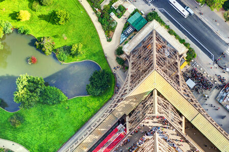 topdown: Top-down view from the Eiffel Tower in Paris, France