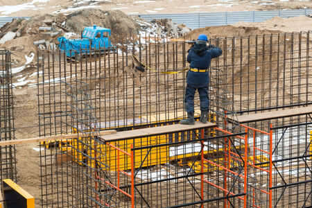 Construction site worker on april 3, 2014 in Moscow, Russia  Urban construction is at a faster pace in Russia