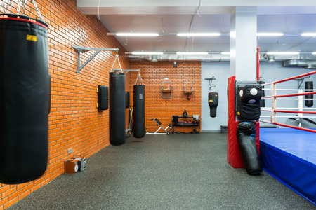 Empty hall for boxing in the gym on september 17, 2013 in Moscow  Young people in Russia are increasingly visiting gyms