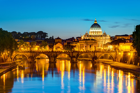 Night view at St  Peter s cathedral in Rome