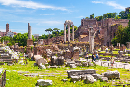 Roman Forum on may 10, 2014 in Rome, Italy  The Roman Forum is an important monument of antiquity and is one of the main tourist attractions of Rome