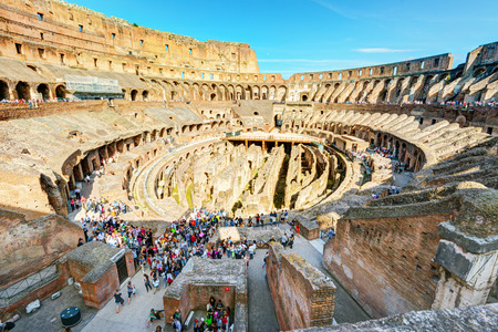 Colosseum  Coliseum  on may 10, 2014 in Rome, Italy  The Colosseum is an important monument of antiquity and is one of the main tourist attractions of Rome