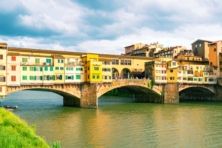 florence: Ponte Vecchio over Arno river in Florence, Italy  Vintage photo