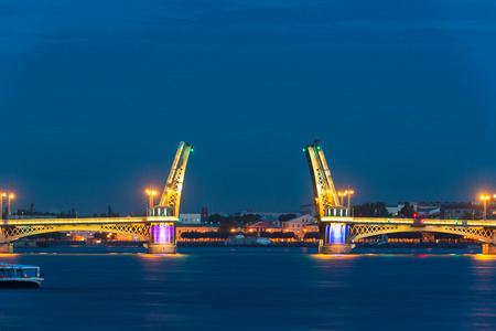 blagoveshchensky: The Blagoveshchensky  Annunciation  Bridge during the White Nights in St  Petersburg, Russia Stock Photo