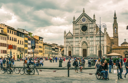 Piazza Santa Croce. The Basilica of Santa Croce (Basilica of the Holy Cross), built in the 15th century. This is one of the main attractions of the city.