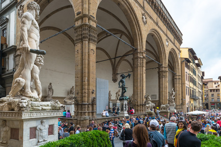 signoria square: Piazza della Signoria (Signoria  square) with Renaissance sculpture. This place is one of the main attractions in Florence. Editorial