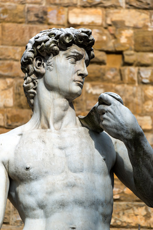 Statue of Michelangelo`s David in front of the Palazzo Vecchio in Florence