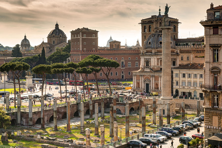 View of the Forum of Trajan and the Piazza Venezia in Rome photo