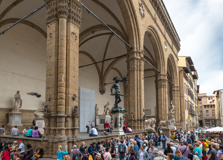 signoria square: FLORENCE, ITALY - MAY 11, 2014: Piazza della Signoria (Signoria square) with Renaissance sculpture. This place is one of the main attractions of the city.