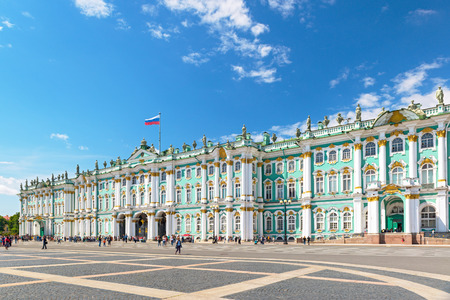 ST PETERSBURG, RUSSIA - JUNE 14, 2014: The Winter Palace, from Palace Square, Saint Petersburg, Russia.