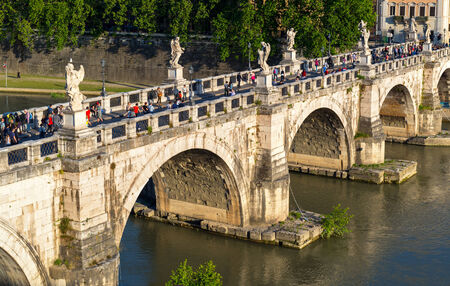 View of the Bridge of Angels (Ponte Sant`Angelo) in Rome