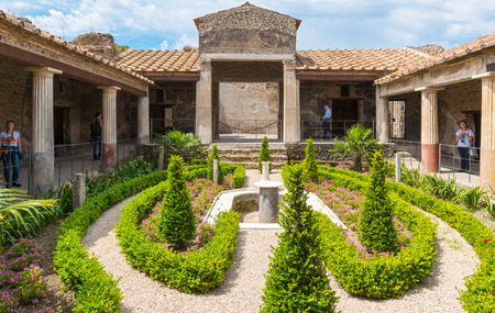 POMPEII, ITALY - MAY 13: A beautiful ancient house. Pompeii is an ancient Roman city died from the eruption of Mount Vesuvius in 79 AD. Stock Photo