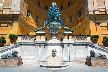 The Fontana della Pigna (The Pine cone fountain) in Vatican, Rome, Italy Editorial