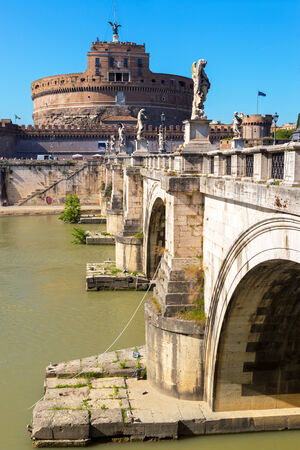 Castle and bridge of the Holy Angel (Castel Sant`Angelo) in Rome, Italy