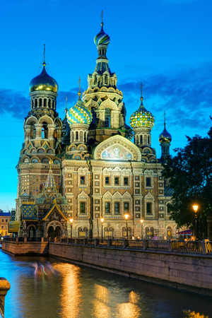 liberator: Church of the Savior on Spilled Blood (Cathedral of the Resurrection of Christ) at White Night in St. Petersburg, Russia. It is a landmark of city, and a unique monument to Alexander II the Liberator.