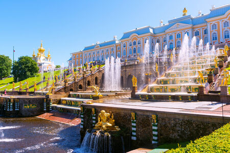 ST PETERSBURG, RUSSIA - JUNE 15, 2014: Peterhof Palace (Petrodvorets) with Grand Cascade. The Peterhof Palace included in the UNESCO
