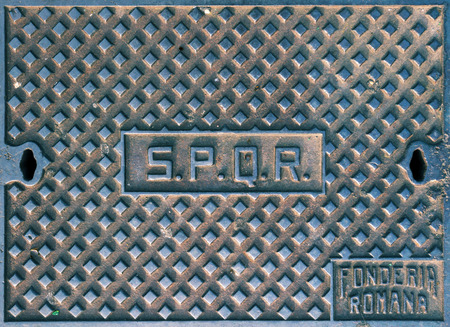 manhole cover: SPQR, typical manhole cover in Rome, Italy