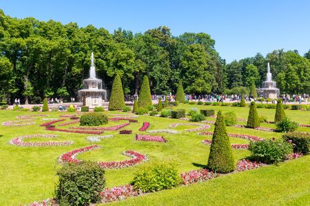 petrodvorets: ST PETERSBURG, RUSSIA - JUNE 15, 2014: Park in Peterhof Palace (Petrodvorets). The Peterhof Palace included in the UNESCO