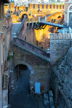 Inside the Castel Sant`Angelo at sunset in Rome, Italy photo