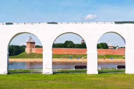 The ruins of the Yaroslav`s Court in Veliky Novgorod (Novgorod the Great), Russia