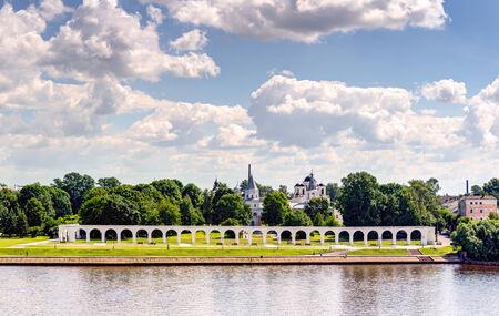 volkhov: View of the Yaroslav`s Court in Veliky Novgorod (Novgorod the Great), Russia