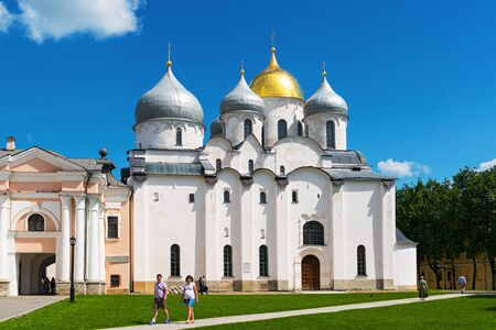 NOVGOROD THE GREAT, RUSSIA - JUNE 12, 2014: The Cathedral of St. Sophia (the Holy Wisdom of God) in Kremlin. UNESCO recognised Novgorod as a World Heritage Site in 1992.