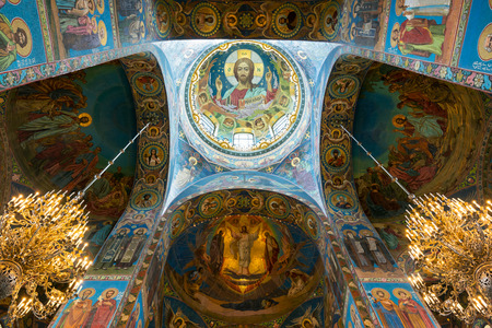 the liberator: Interior of Church of the Savior on Spilled Blood (Cathedral of the Resurrection of Christ) in St. Petersburg, Russia. It is an architectural landmark of city, and a unique monument to Alexander II the Liberator.