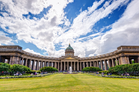 ST PETERSBURG, RUSSIA - JUNE 13, 2014: Panorama of Kazan Cathedral. It is one of the main attractions of St Petersburg.