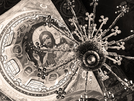 the liberator: ST PETERSBURG, RUSSIA - JUNE 13, 2014: Ceiling of the Church of the Savior on Spilled Blood. It is an architectural landmark of city and a unique monument to Alexander II the Liberator. Editorial