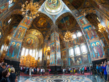 liberator: ST PETERSBURG, RUSSIA - JUNE 13, 2014: Interior of Church of the Savior on Spilled Blood (Cathedral of the Resurrection of Christ). It is an architectural landmark of St Petersburg, and a unique monument to Alexander II the Liberator.