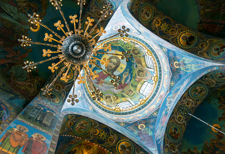 liberator: Ceiling of Church of the Savior on Spilled Blood (Cathedral of the Resurrection of Christ) in St. Petersburg, Russia. It is an architectural landmark of city, and a unique monument to Alexander II the Liberator.