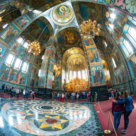 the liberator: ST PETERSBURG, RUSSIA - JUNE 13, 2014: Interior of the Church of the Savior on Spilled Blood. It is an architectural landmark of city and a unique monument to Alexander II the Liberator.