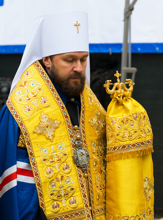 synod: MOSCOW - JANUARY 27, 2015: Metropolitan Hilarion is present at a ceremony marking the start of construction of a new modern cultural center at the Moscow State Conservatory on january 27, 2015 in Moscow, Russia.
