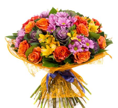 Bouquet of natural orange roses and colorful flowers on a white background