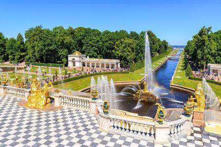 peterhof: Grand cascade in Peterhof, St Petersburg. The Peterhof palace included in the UNESCO Editorial