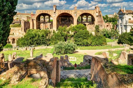 constantine: Roman Forum in Rome, Italy. The Basilica of Maxentius and Constantine in the distance.