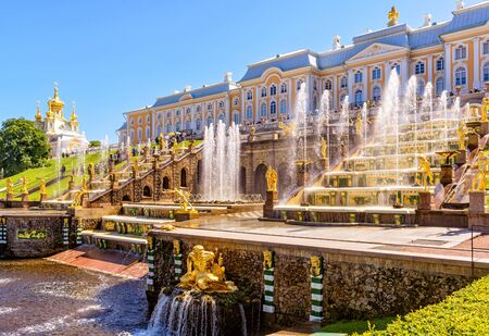 petrodvorets: ST PETERSBURG, RUSSIA - JUNE 15, 2014: Peterhof Palace (Petrodvorets) with Grand Cascade.