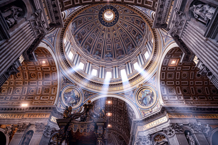 catholic church: ROME, ITALY - MAY 12, 2014: Inside the St. Peters Basilica. St. Peters Basilica is one of the main tourist attractions of Rome.