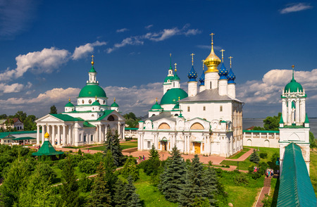 Dimitrievsky Cathedral and Zachatievsky Cathedral of the Spaso-Yakovlevsky Monastery in Rostov, Russia. The ancient town of Rostov the Great is a tourist center of the Golden Ring of Russia.