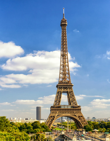 Paris skyline with Eiffel tower, France 免版税图像