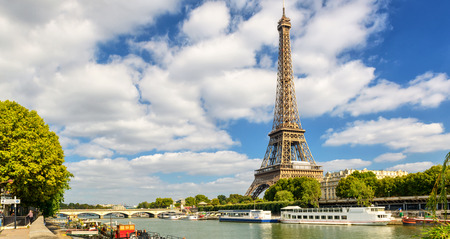 The Eiffel tower from the river Seine in Paris, France photo
