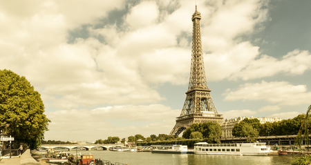 The Eiffel tower from the river Seine in Paris photo