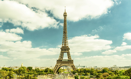 historical sites: Eiffel Tower from Trocadero, Paris, France Stock Photo
