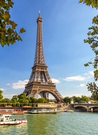 Eiffel Tower: The Eiffel tower from the river Seine in Paris, France