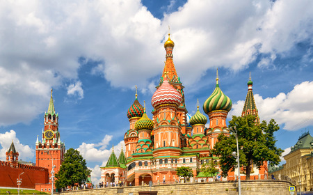St. Basil`s Cathedral with Kremlin, Moscow, Russia