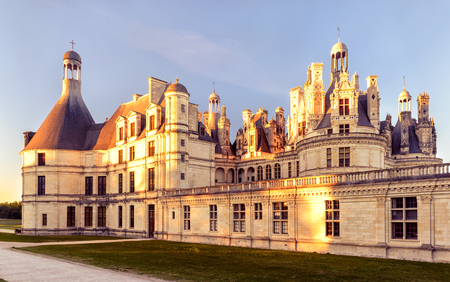 16th century: The royal Chateau de Chambord at sunset, France. This castle is located in the Loire Valley, was built in the 16th century and is one of the most recognizable chateaux in the world. Editorial