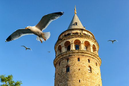 tower: Galata Tower, Istanbul, Turkey Stock Photo